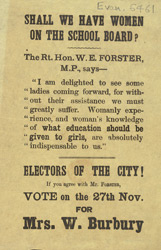 Political leaflet for Mrs W Burbury